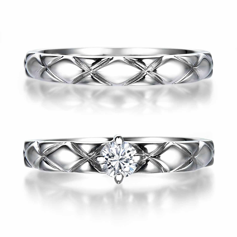 キルティングペアマリッジリング ウィズ ダイヤモンド | 結婚指輪と婚約指輪の高品質オーダーメイドQDM